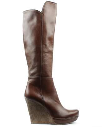 Daniel Wisdom Tan Leather Knee High Wedge Boot