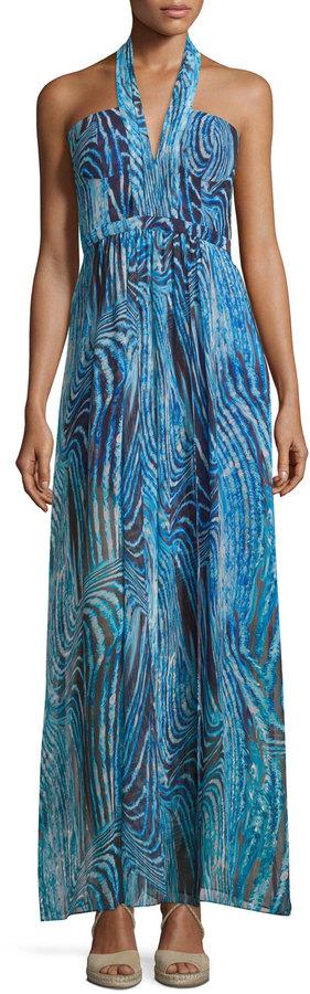 BCBGMAXAZRIABCBGMAXAZRIA Starr Printed Halter Gown, Royal Blue