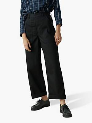 Toast Denim Side Button Trousers, Black