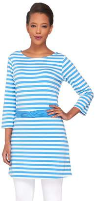 Liz Claiborne New York Striped Tunic w/Knotted Waist Belt Detail