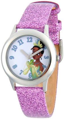 Disney Princess Girls Purple Glitz and Silver Tone Tiana Strap Watch W002979