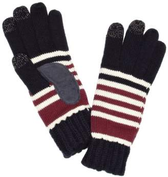 Isotoner Women's Smartouch Chunky Knit 3 Finger Touchscreen Striped Gloves