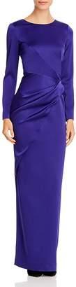 Paule Ka Draped Twist-Detail Satin Gown