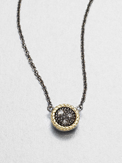 Jude Frances Grey Diamond, 14K Yellow Gold & Sterling Silver Pendant Necklace