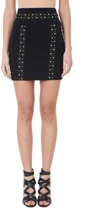 Pierre Balmain Black Cr?pe Mini Pencil Skirt. Zip Closure