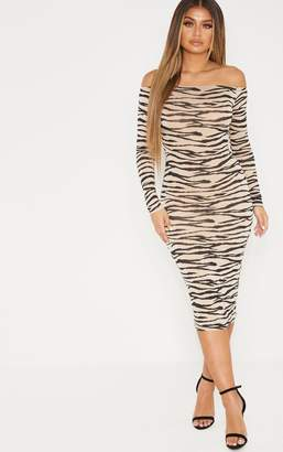 PrettyLittleThing Tan Tiger Print Long Sleeve Bardot Midi Dress
