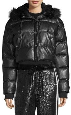 The Kooples Faux Fur-Trimmed Cropped Puffer Coat