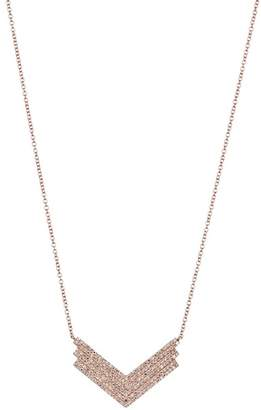 Ef Collection 14K Rose Gold Pave Diamond Jumbo Shield Pendant Necklace - 0.49 ctw