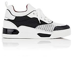 Christian Louboutin Men's Aurelien Flat Mixed-Material Sneakers-White