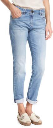 Brunello Cucinelli Light Denim Slim-Leg Jeans w/Rolled Hem, Blue