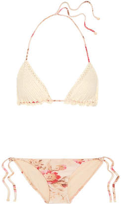 Zimmermann Corsair Crocheted Cotton And Floral-print Triangle Bikini - Cream
