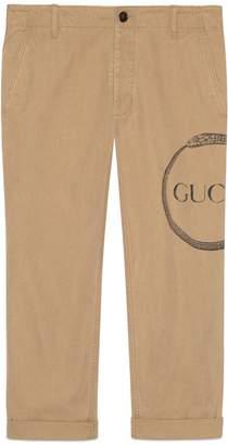 Gucci ouroboros print cotton chino