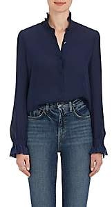 L'Agence Women's Carla Silk Georgette Blouse - Navy