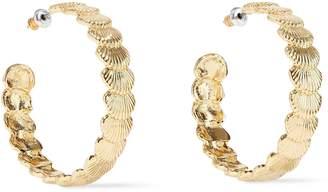 Noir Clam Up 14-karat Gold-plated Hoop Earrings