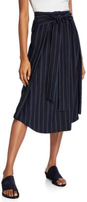Vince Dobby Stripe Belted Midi Skirt