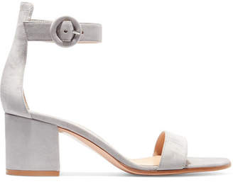 Gianvito Rossi Portofino 60 Suede Sandals - Light gray