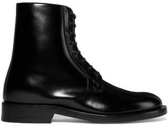 Vetements Lace-up Glossed-leather Ankle Boots - Black