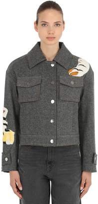 Tiger Embroidered Cotton Denim Jacket