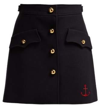Miu Miu Buttoned Virgin Wool Skirt - Womens - Navy