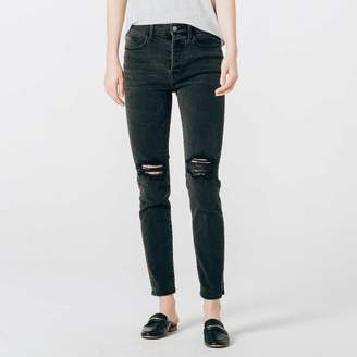 DSTLD Ripped High Waisted Mom Jeans in Faded Black