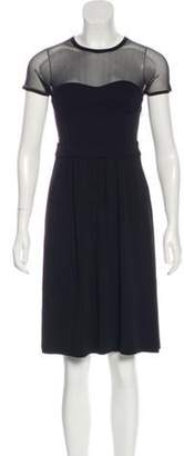 Burberry Mesh-Accented Knee-Length Dress Black Mesh-Accented Knee-Length Dress