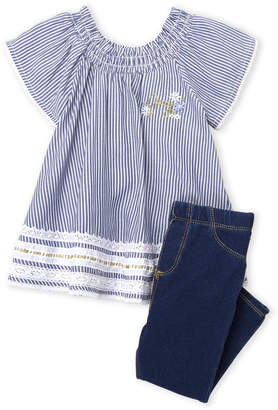 Juicy Couture Girls 4-6x) Two-Piece Stripe Smocked Tunic & Knit Denim Leggings Set