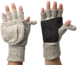 Ragg Polar Wear Mens Fingerless Suede Palm Wool Mitten Gloves w/ Finger & Thumb Pullover (L/XL, )