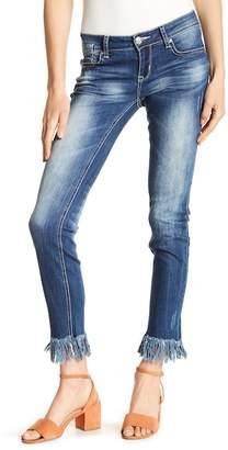 Grace In LA Denim Fringe Hem Skinny Jeans