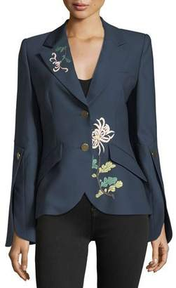 Peter Pilotto 2-Button Flare-Sleeves Floral-Embroidered Wool Jacket