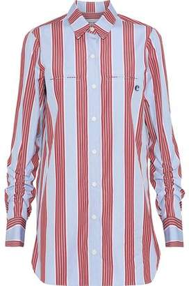 Carven Ruched Striped Cotton-Poplin Shirt