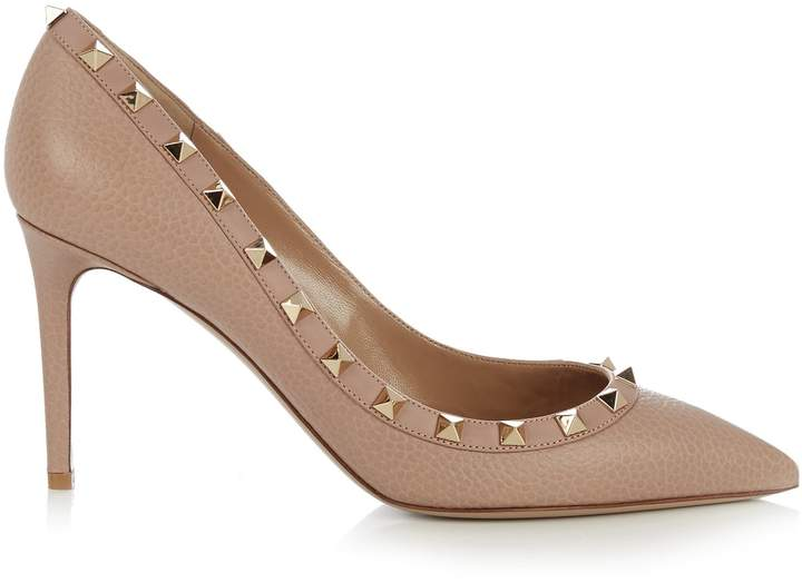 VALENTINO Rockstud point-toe grained-leather pumps