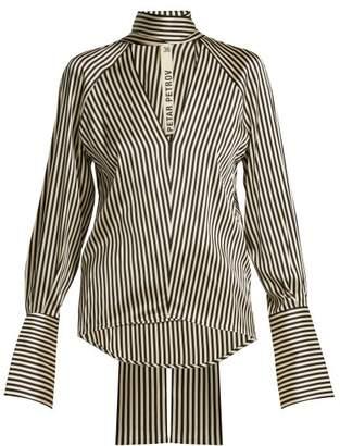 Petar Petrov - Eike Striped Silk Blouse - Womens - Black White