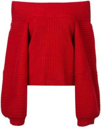 Oscar de la Renta off shoulder ribbed sweater