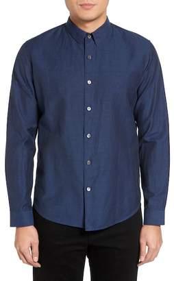 Theory Rammy Trim Fit Linen & Cotton Sport Shirt