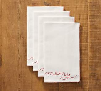 Pottery Barn Merry Sentiment Napkin, Set of 4