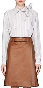 Prada Women's Bow-Detailed Striped Cotton Blouse