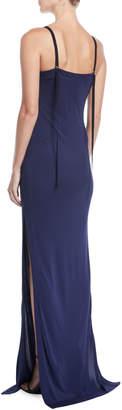 Yigal Azrouel Matte-Jersey Slit-Leg Evening Gown