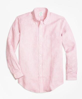 Brooks Brothers Milano Fit Stripe Irish Linen Sport Shirt