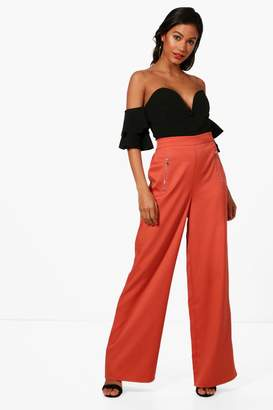 boohoo Woven Exposed Zip Wide Leg Trousers