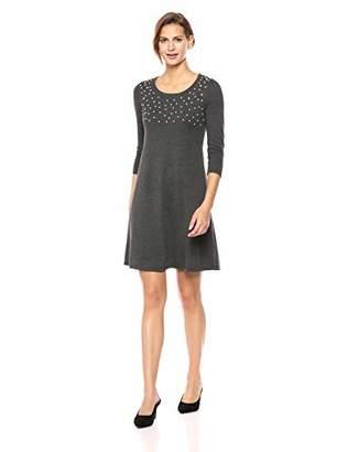 Nine West Women's 3/4 Sleeve Sweater Dress Pearl Details