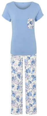 George Blue Floral Print Pyjama Set