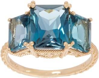 Judith Ripka 14K Gold London Blue Topaz Ring, 6.00 cttw