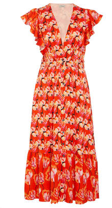 Temperley London Dragonfly Crepe Ruffle Sleeve Dress