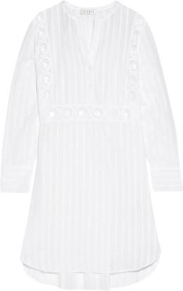Sandro Rebella lace-paneled pinstriped cotton-blend mini dress $530 thestylecure.com