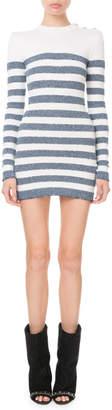 Balmain Long-Sleeve Shimmer-Stripe Button-Shoulder Mini Dress