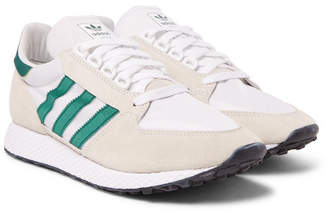 adidas Forest Grove Suede and Mesh Sneakers - Men - White