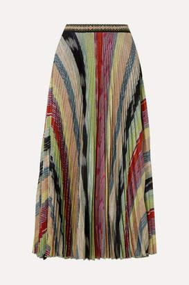 Missoni Pleated Metallic Crochet-knit Midi Skirt - Green