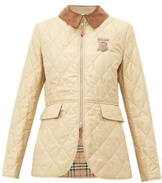 Burberry Leather Monogram Quilted Riding Jacket - Womens - Dark Beige