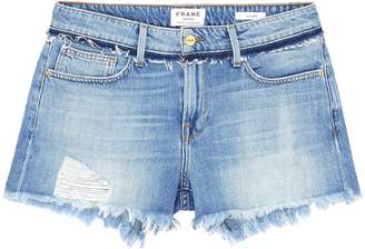 Frame 'Le Grand Garcon' frayed cuff boyfriend denim shorts