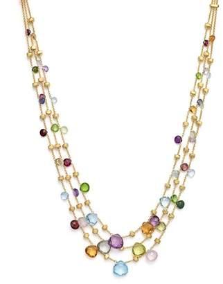 "Marco Bicego 18K Yellow Gold Paradise Three Strand Mixed Stone Necklace, 16.5"""